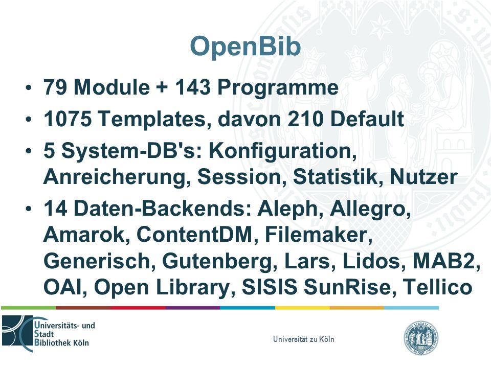 Universität zu Köln OpenBib 79 Module + 143 Programme 1075 Templates, davon 210 Default 5 System-DB's: Konfiguration, Anreicherung, Session, Statistik