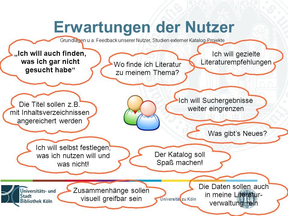 """Universität zu Köln Erwartungen der Nutzer Grundlagen u.a: Feedback unserer Nutzer, Studien externer Katalog-Projekte """"Ich will auch finden, was ich g"""