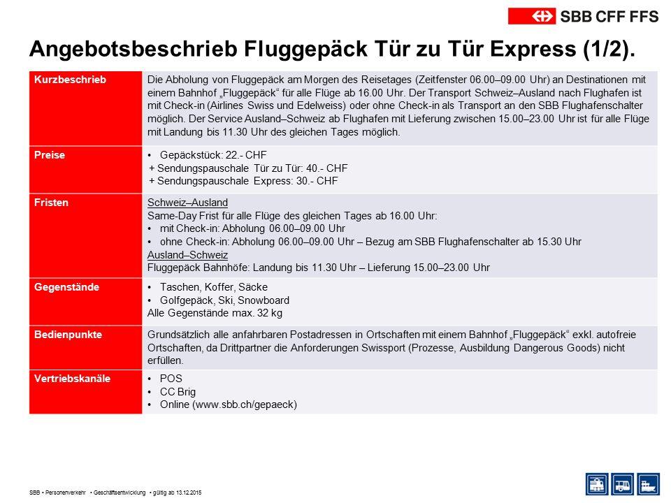 Angebotsbeschrieb Fluggepäck Tür zu Tür Express (1/2).