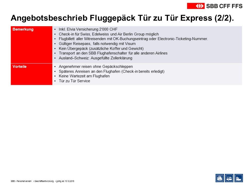 Angebotsbeschrieb Fluggepäck Tür zu Tür Express (2/2).