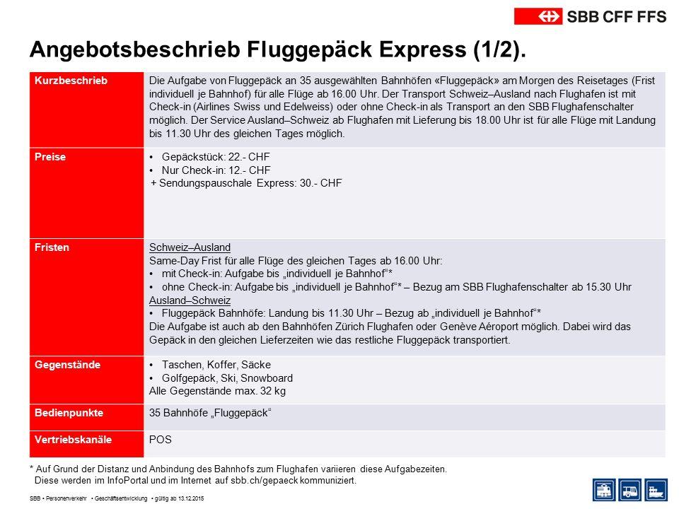 Angebotsbeschrieb Fluggepäck Express (2/2).