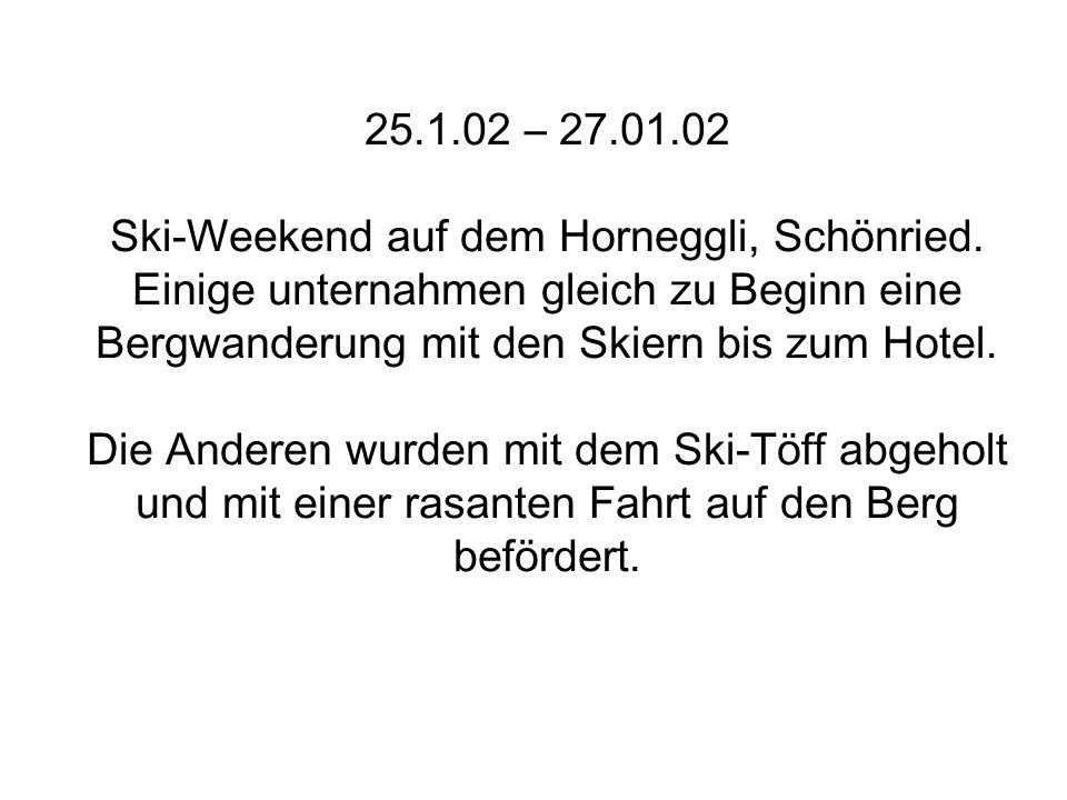 29.11.2002 Feuerwehr-Abend in Thun.Wir treten auf und zeigen das volle Programm.
