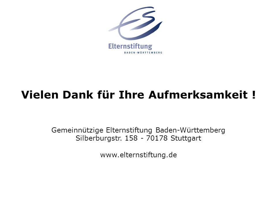 Vielen Dank für Ihre Aufmerksamkeit ! Gemeinnützige Elternstiftung Baden-Württemberg Silberburgstr. 158 - 70178 Stuttgart www.elternstiftung.de