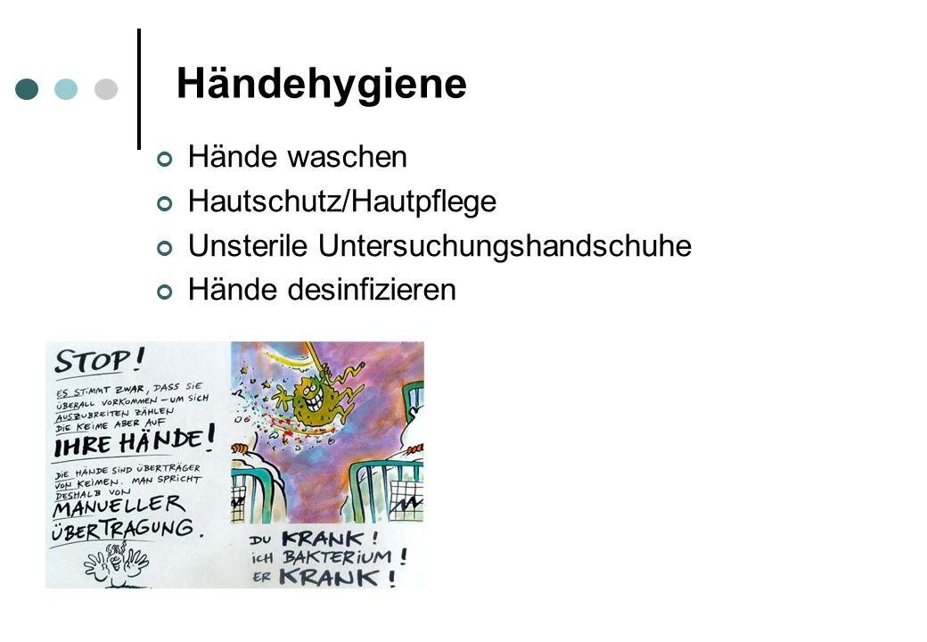 Hände waschen Hautschutz/Hautpflege Unsterile Untersuchungshandschuhe Hände desinfizieren Händehygiene
