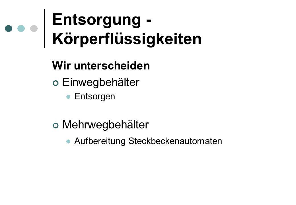 Entsorgung - Körperflüssigkeiten Wir unterscheiden Einwegbehälter Entsorgen Mehrwegbehälter Aufbereitung Steckbeckenautomaten