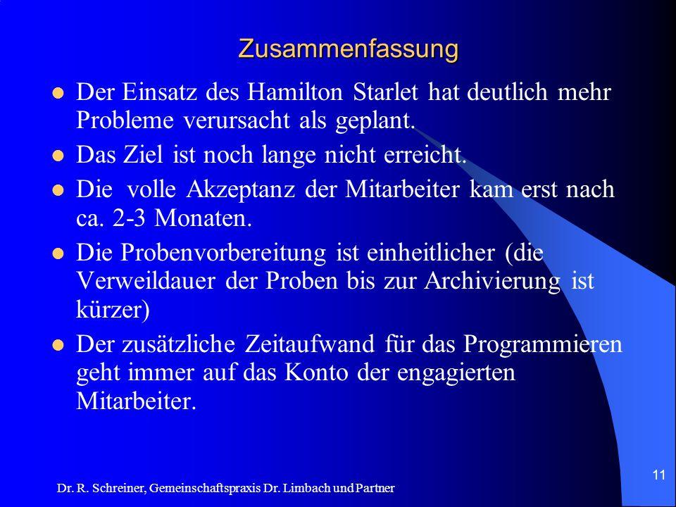 Dr. R. Schreiner, Gemeinschaftspraxis Dr. Limbach und Partner Zusammenfassung Der Einsatz des Hamilton Starlet hat deutlich mehr Probleme verursacht a