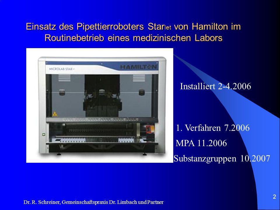 Dr. R. Schreiner, Gemeinschaftspraxis Dr. Limbach und Partner Einsatz des Pipettierroboters Star let von Hamilton im Routinebetrieb eines medizinische