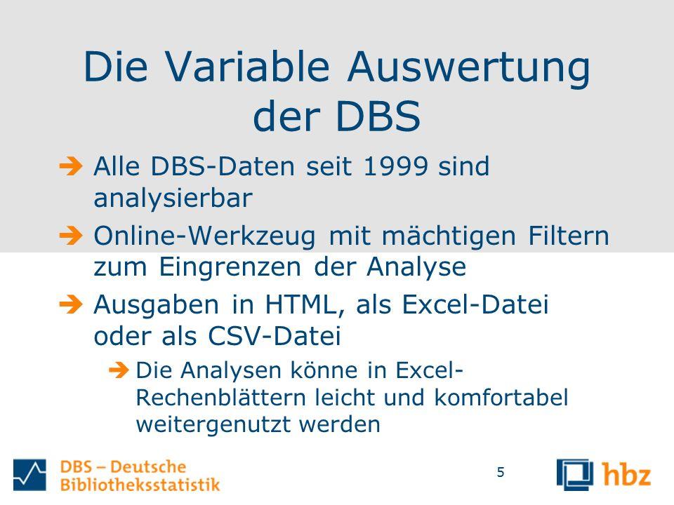 5 Die Variable Auswertung der DBS  Alle DBS-Daten seit 1999 sind analysierbar  Online-Werkzeug mit mächtigen Filtern zum Eingrenzen der Analyse  Ausgaben in HTML, als Excel-Datei oder als CSV-Datei  Die Analysen könne in Excel- Rechenblättern leicht und komfortabel weitergenutzt werden