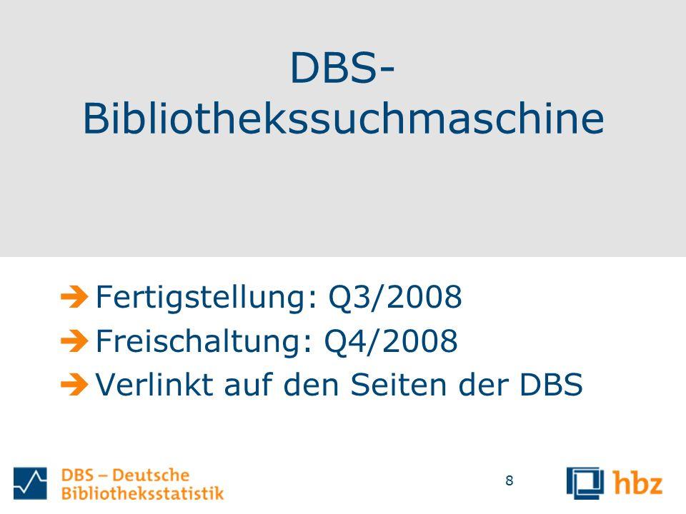 8 DBS- Bibliothekssuchmaschine  Fertigstellung: Q3/2008  Freischaltung: Q4/2008  Verlinkt auf den Seiten der DBS