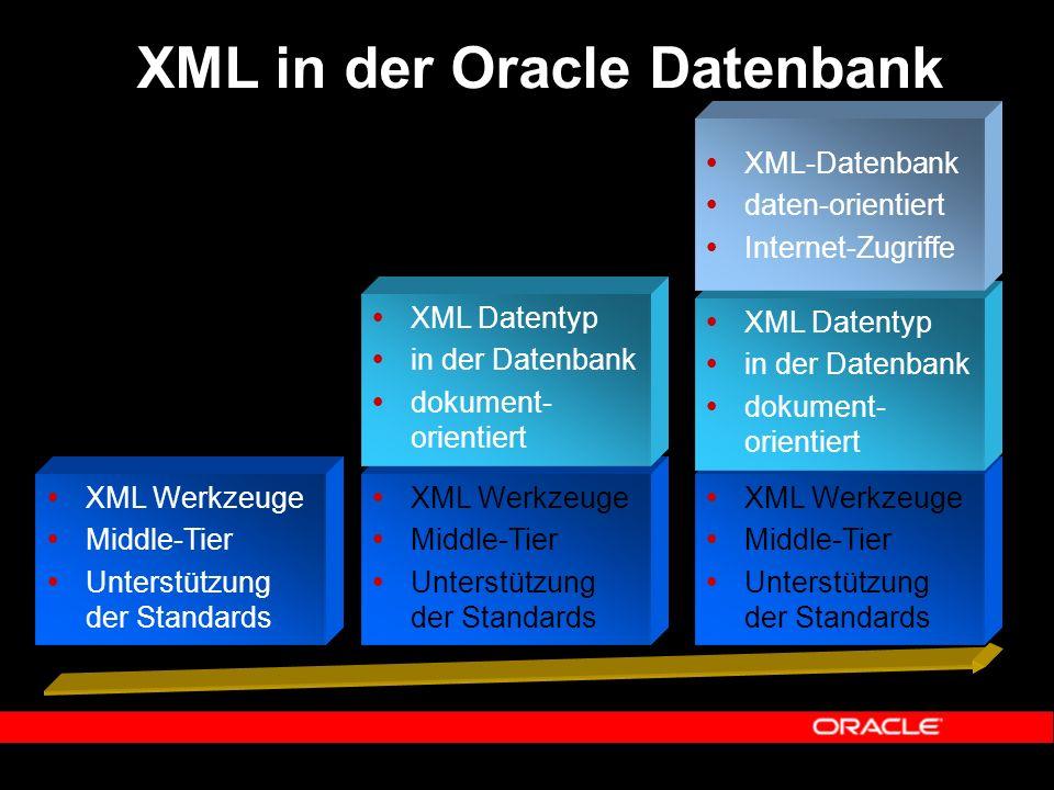  XML Werkzeuge  Middle-Tier  Unterstützung der Standards  XML Datentyp  in der Datenbank  dokument- orientiert  XML-Datenbank  daten-orientiert  Internet-Zugriffe XML in der Oracle Datenbank  XML Werkzeuge  Middle-Tier  Unterstützung der Standards  XML Datentyp  in der Datenbank  dokument- orientiert  XML Werkzeuge  Middle-Tier  Unterstützung der Standards