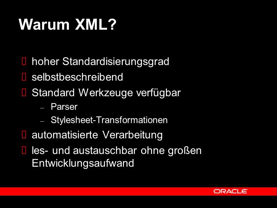 Warum XML?  hoher Standardisierungsgrad  selbstbeschreibend  Standard Werkzeuge verfügbar – Parser – Stylesheet-Transformationen  automatisierte V