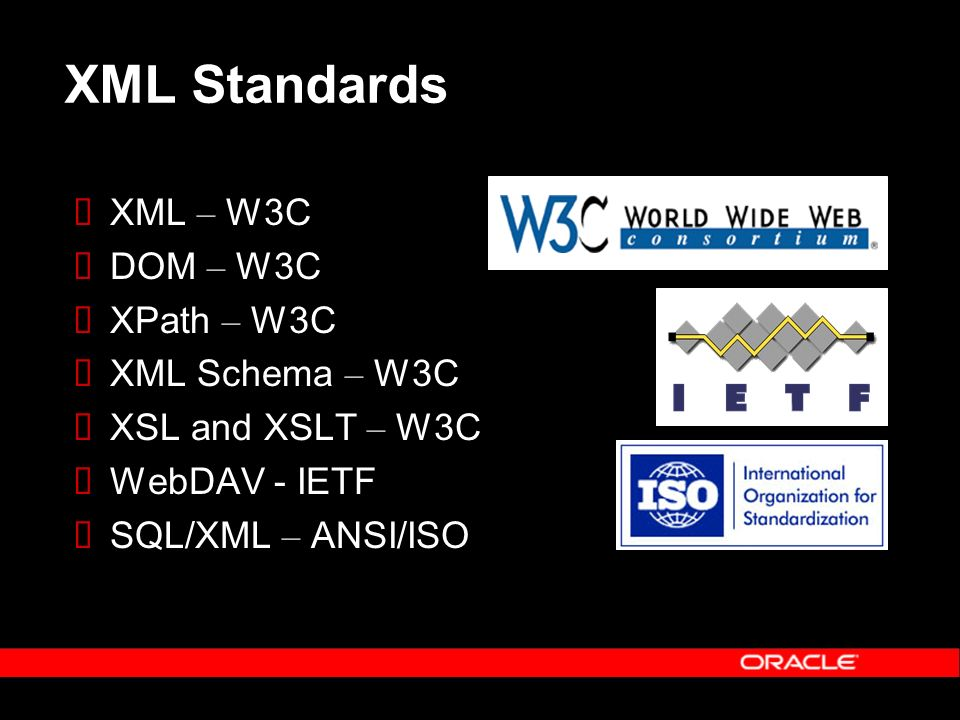 XML Standards  XML – W3C  DOM – W3C  XPath – W3C  XML Schema – W3C  XSL and XSLT – W3C  WebDAV - IETF  SQL/XML – ANSI/ISO