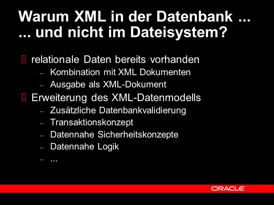 Warum XML in der Datenbank...... und nicht im Dateisystem?  relationale Daten bereits vorhanden – Kombination mit XML Dokumenten – Ausgabe als XML-Do