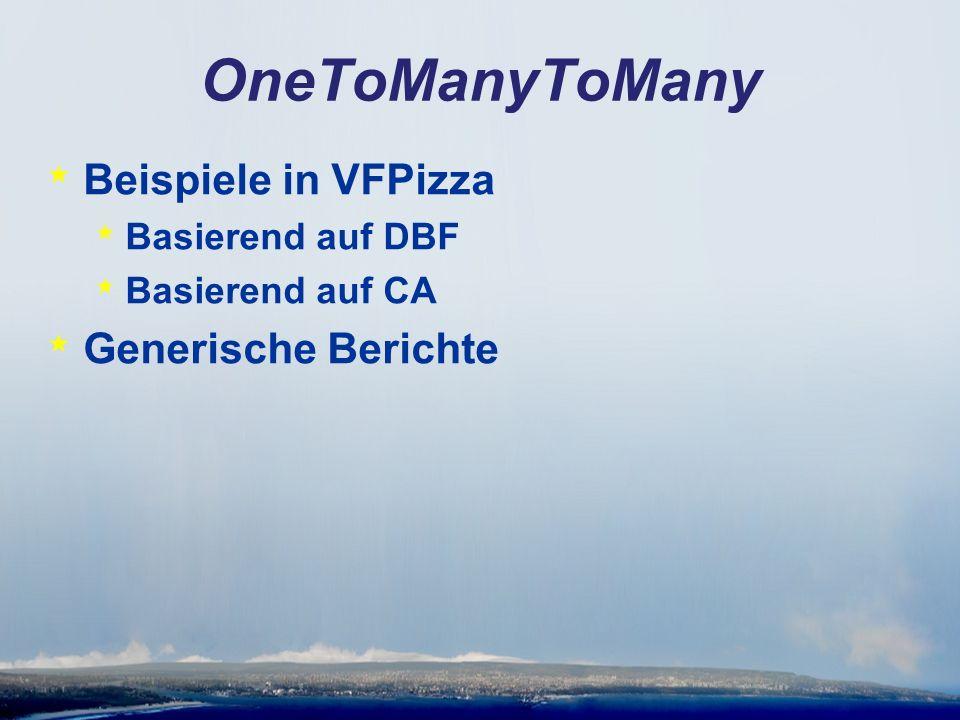 OneToManyToMany * Beispiele in VFPizza * Basierend auf DBF * Basierend auf CA * Generische Berichte