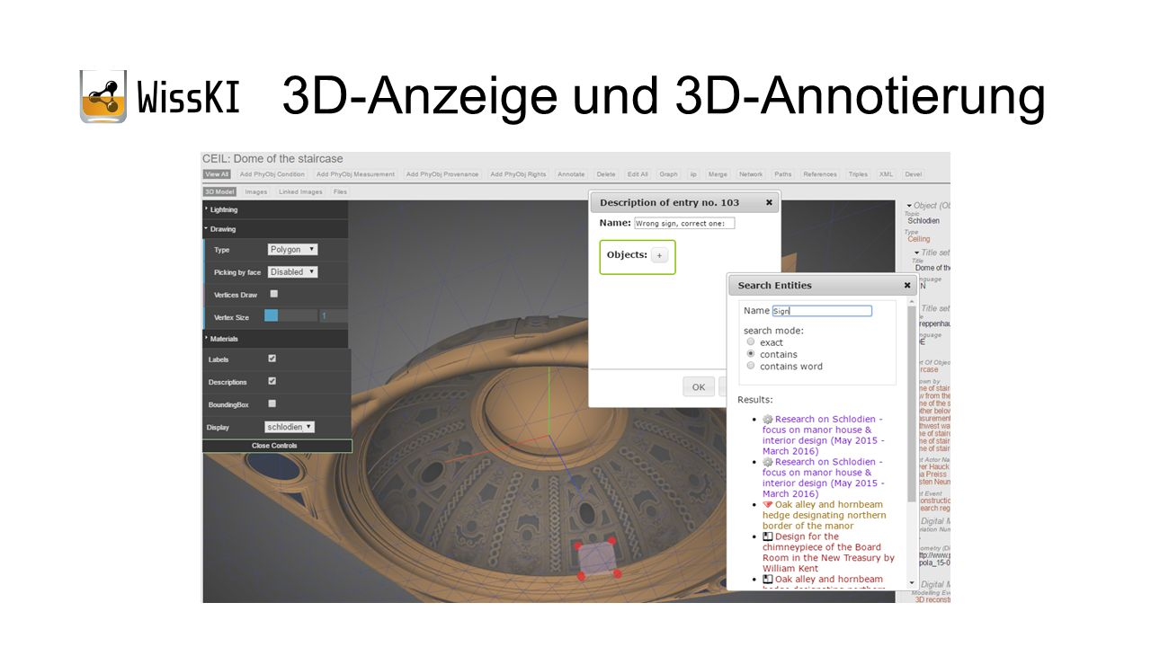 3D-Anzeige und 3D-Annotierung