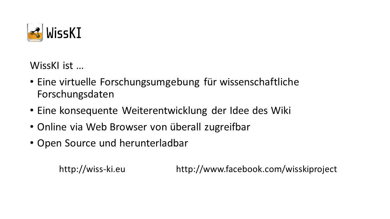WissKI ist … Eine virtuelle Forschungsumgebung für wissenschaftliche Forschungsdaten Eine konsequente Weiterentwicklung der Idee des Wiki Online via W