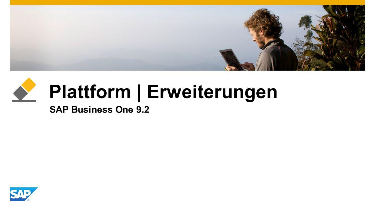 Plattform | Erweiterungen SAP Business One 9.2