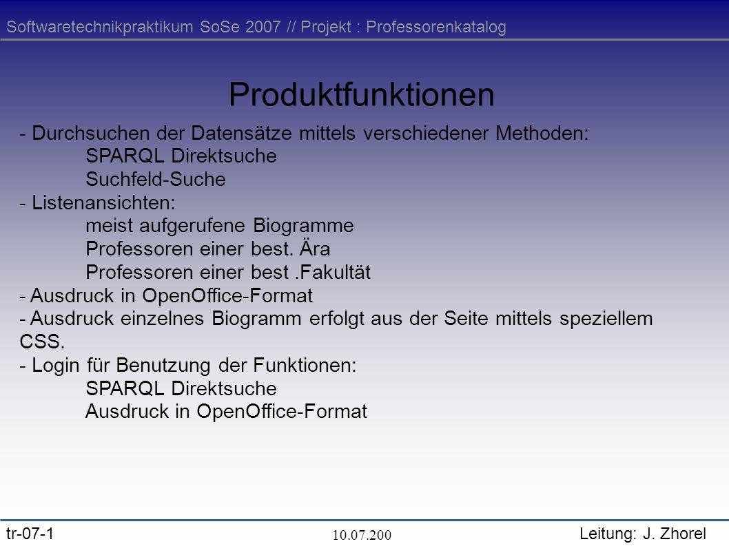 Softwaretechnikpraktikum SoSe 2007 // Projekt : Professorenkatalog tr-07-1Leitung: J.