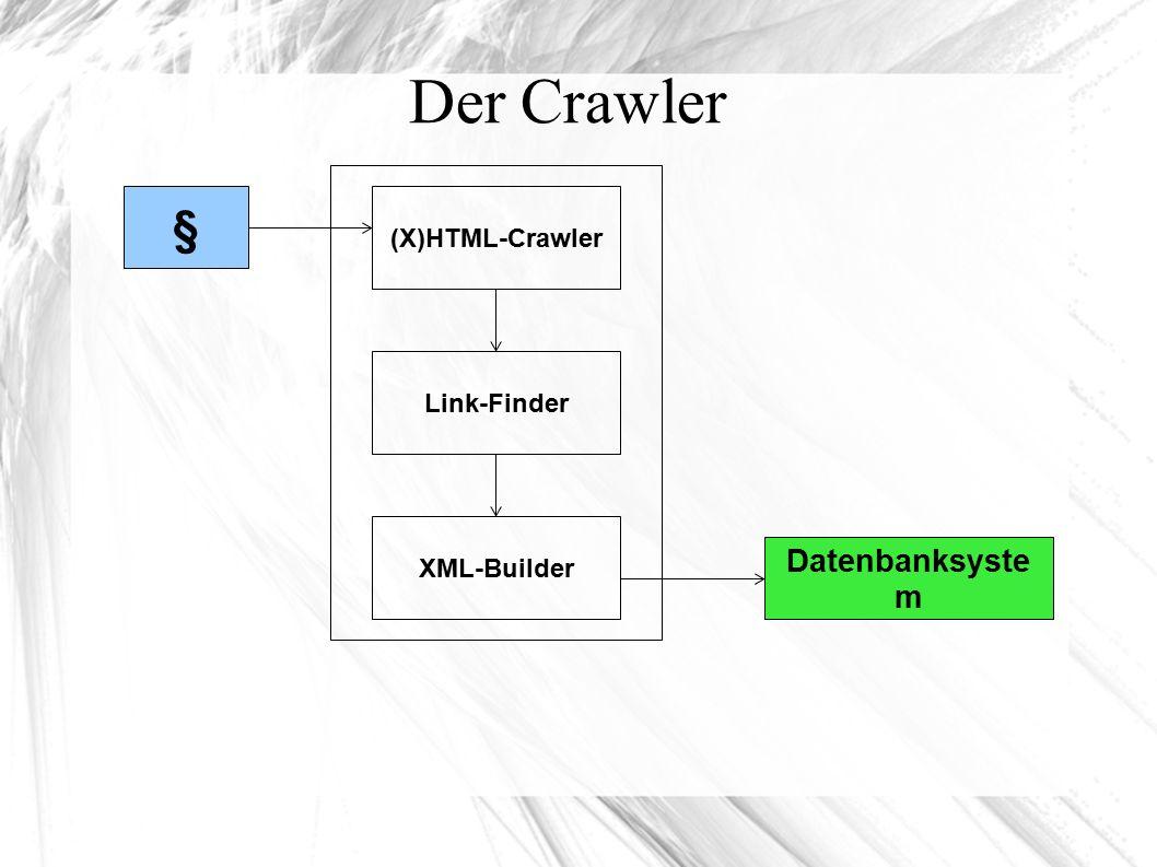 Der Crawler § (X)HTML-Crawler Link-Finder XML-Builder Datenbanksyste m