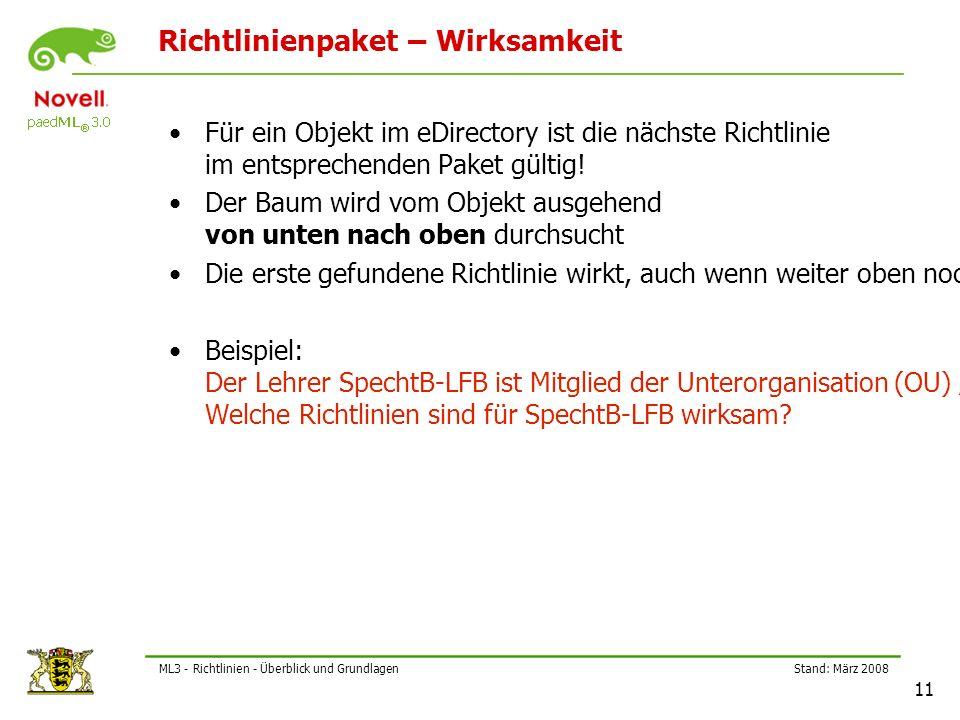 Stand: März 2008 11 ML3 - Richtlinien - Überblick und Grundlagen Richtlinienpaket – Wirksamkeit Für ein Objekt im eDirectory ist die nächste Richtlinie im entsprechenden Paket gültig.