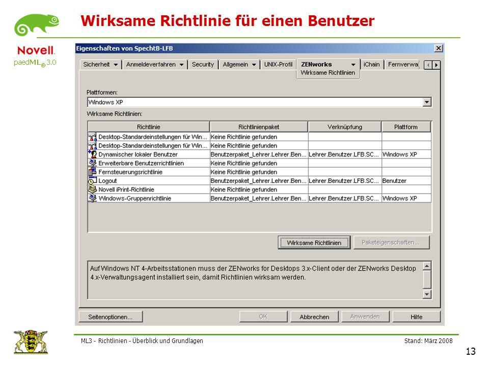 Stand: März 2008 13 ML3 - Richtlinien - Überblick und Grundlagen Wirksame Richtlinie für einen Benutzer