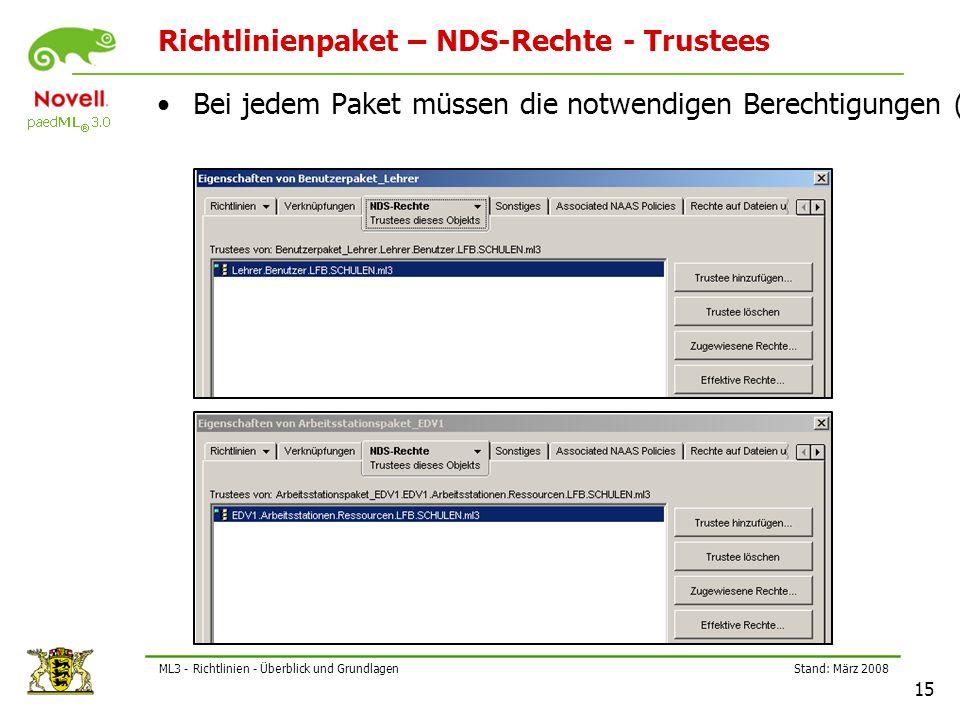 Stand: März 2008 15 ML3 - Richtlinien - Überblick und Grundlagen Richtlinienpaket – NDS-Rechte - Trustees Bei jedem Paket müssen die notwendigen Berechtigungen (Trustees) eingetragen sein!