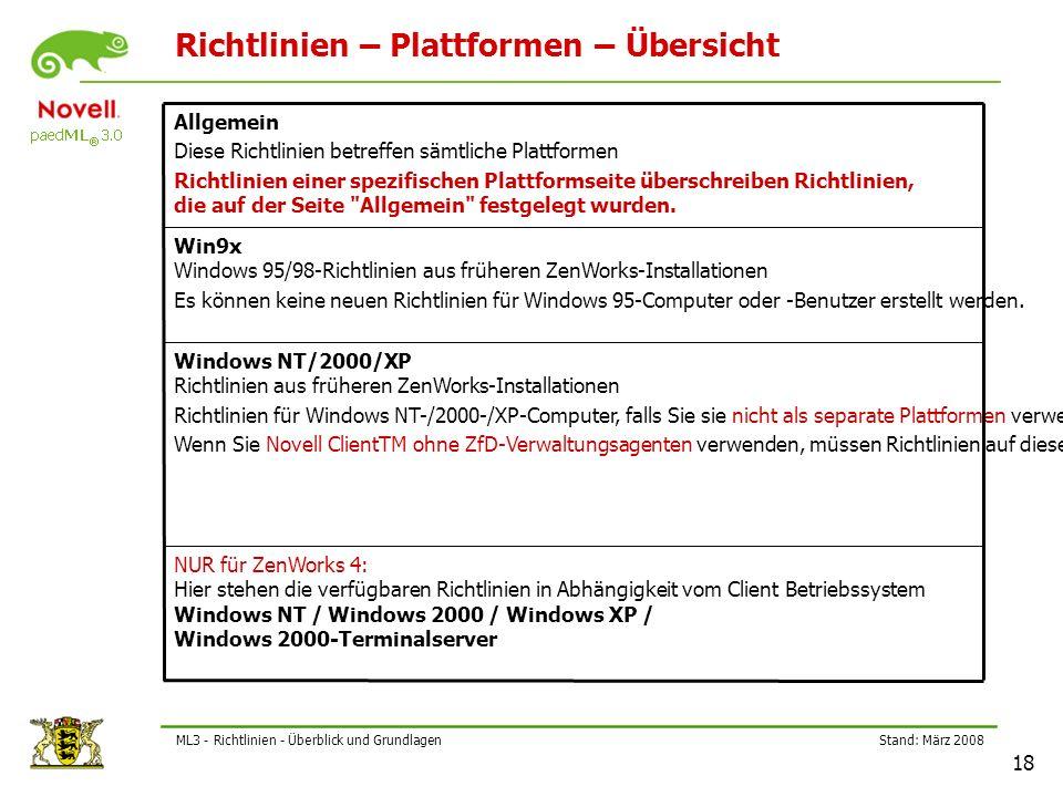Stand: März 2008 18 ML3 - Richtlinien - Überblick und Grundlagen Richtlinien – Plattformen – Übersicht NUR für ZenWorks 4: Hier stehen die verfügbaren Richtlinien in Abhängigkeit vom Client Betriebssystem Windows NT / Windows 2000 / Windows XP / Windows 2000-Terminalserver Windows NT/2000/XP Richtlinien aus früheren ZenWorks-Installationen Richtlinien für Windows NT-/2000-/XP-Computer, falls Sie sie nicht als separate Plattformen verwenden möchten.