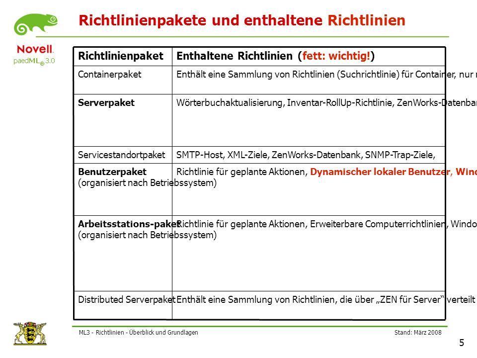 """Stand: März 2008 5 ML3 - Richtlinien - Überblick und Grundlagen Richtlinienpakete und enthaltene Richtlinien Enthält eine Sammlung von Richtlinien, die über """"ZEN für Server verteilt werden können (unwichtig) Distributed Serverpaket Richtlinie für geplante Aktionen, Erweiterbare Computerrichtlinien, Windows Gruppenrichtlinie, Arbeitsstations-Imaging-Richtlinien, Arbeitsstations-Inventarrichtlinie, ZenWorks Desktop-Management-Agentenrichtlinie, Novell iPrint-Richtlinie, FernsteuerungsrichtlinieArbeitsstations-paket (organisiert nach Betriebssystem) Richtlinie für geplante Aktionen, Dynamischer lokaler Benutzer, Windows-Gruppenrichtlinie, Desktop-Standard-Einstellungen, Erweiterbare Benutzerrichtlinien, Novell iPrint-Richtlinie, FernsteuerungsrichtlinieBenutzerpaket (organisiert nach Betriebssystem) SMTP-Host, XML-Ziele, ZenWorks-Datenbank, SNMP-Trap-Ziele,Servicestandortpaket Wörterbuchaktualisierung, Inventar-RollUp-Richtlinie, ZenWorks-Datenbank, Imaging-Server-Richtlinie, Arbeitsstationsimport, Wake-On-Lan Richtlinie, ArbeitsstationsentfernungServerpaket Enthält eine Sammlung von Richtlinien (Suchrichtlinie) für Container, nur mit Containern verknüpfbar (unwichtig) Containerpaket Enthaltene Richtlinien (fett: wichtig!) Richtlinienpaket"""