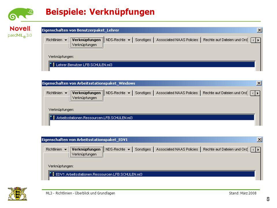 Stand: März 2008 9 ML3 - Richtlinien - Überblick und Grundlagen Richtlinienpaket – Vererbung (1) Das Benutzerpaket_Schueler vererbt die enthaltenen Richtlinien an alle untergeordneten Objekte!
