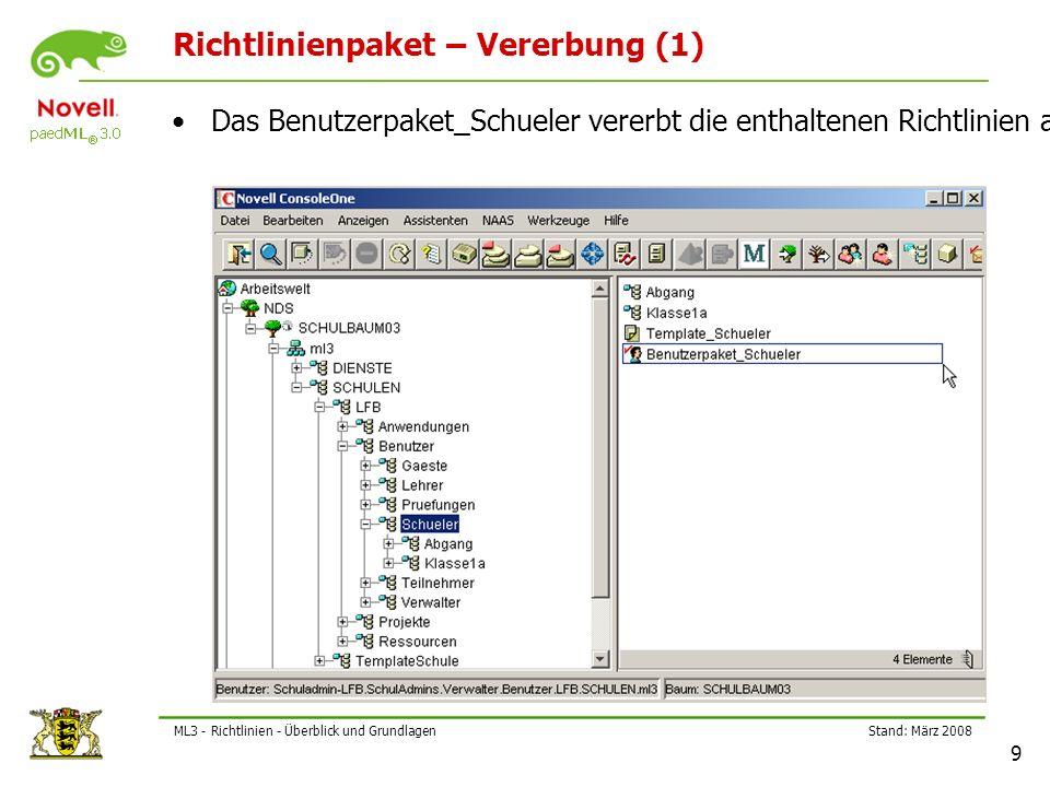 Stand: März 2008 10 ML3 - Richtlinien - Überblick und Grundlagen Richtlinienpaket – Vererbung (2) Das Arbeitsstationspaket_EDV1 vererbt die enthaltenen Richtlinien an alle untergeordneten Arbeitsstationen