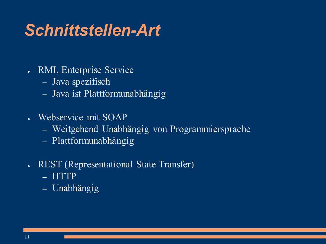 11 Schnittstellen-Art ● RMI, Enterprise Service – Java spezifisch – Java ist Plattformunabhängig ● Webservice mit SOAP – Weitgehend Unabhängig von Pro