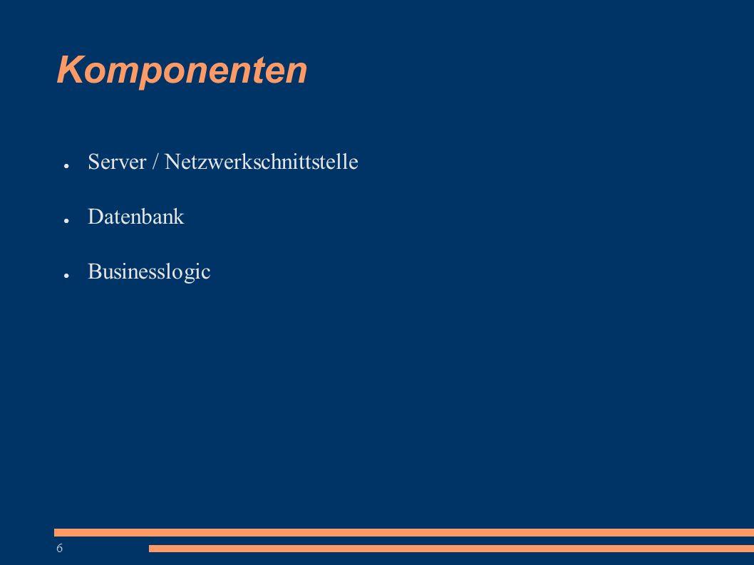 6 Komponenten ● Server / Netzwerkschnittstelle ● Datenbank ● Businesslogic