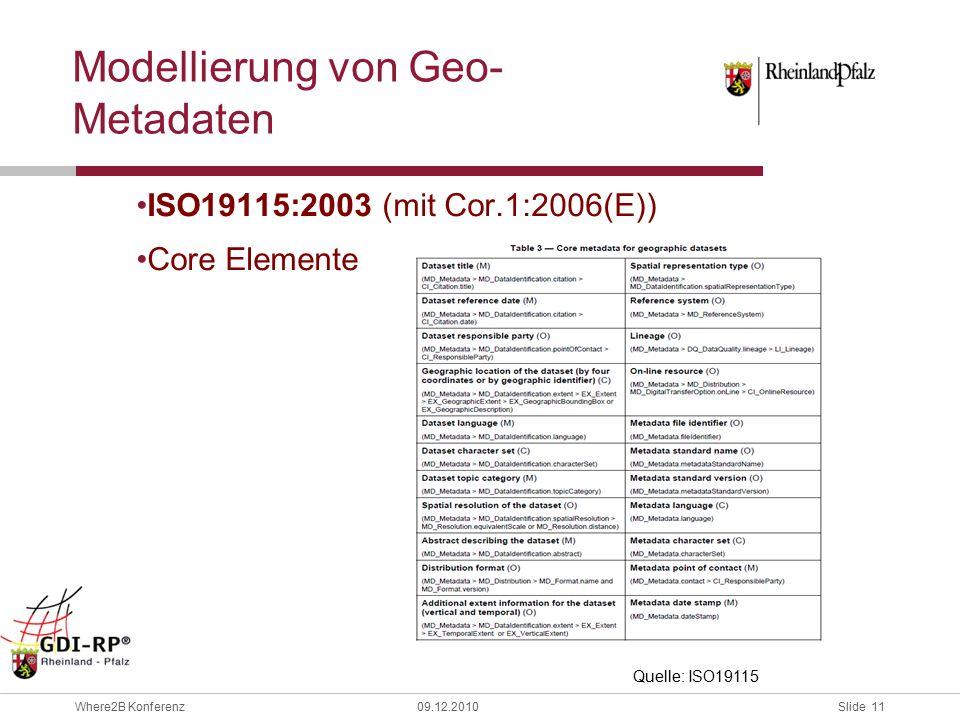 Slide 11 Where2B Konferenz09.12.2010 Modellierung von Geo- Metadaten ISO19115:2003 (mit Cor.1:2006(E)) Core Elemente Quelle: ISO19115