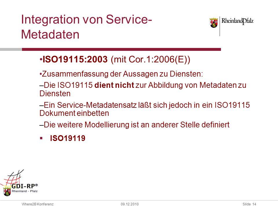 Slide 14 Where2B Konferenz09.12.2010 Integration von Service- Metadaten ISO19115:2003 (mit Cor.1:2006(E)) Zusammenfassung der Aussagen zu Diensten: –Die ISO19115 dient nicht zur Abbildung von Metadaten zu Diensten –Ein Service-Metadatensatz läßt sich jedoch in ein ISO19115 Dokument einbetten –Die weitere Modellierung ist an anderer Stelle definiert  ISO19119