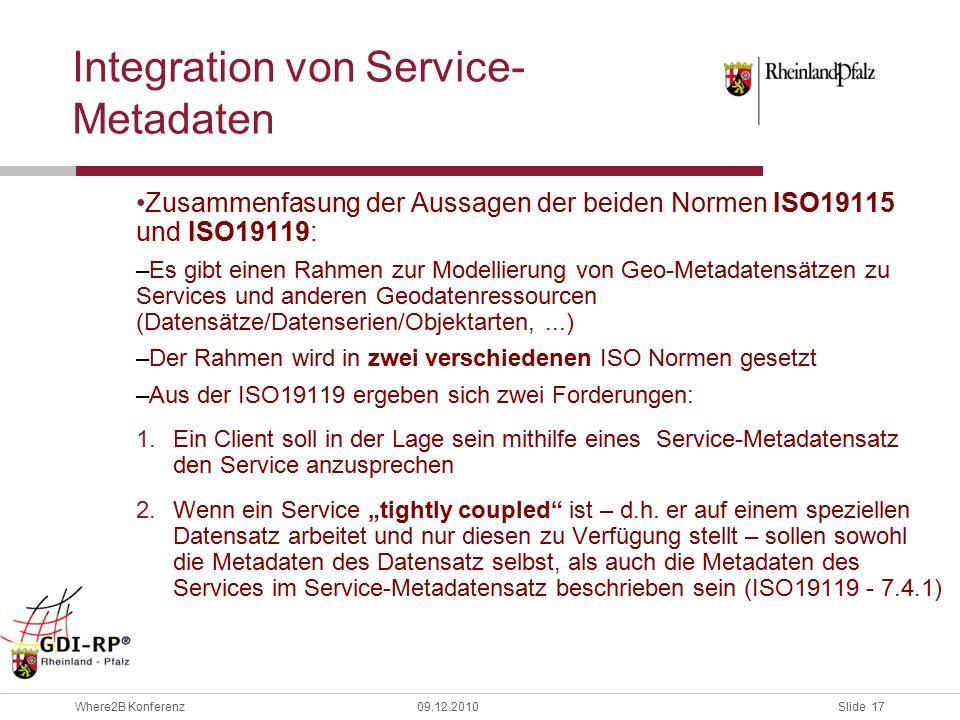 """Slide 17 Where2B Konferenz09.12.2010 Zusammenfasung der Aussagen der beiden Normen ISO19115 und ISO19119: –Es gibt einen Rahmen zur Modellierung von Geo-Metadatensätzen zu Services und anderen Geodatenressourcen (Datensätze/Datenserien/Objektarten,...) –Der Rahmen wird in zwei verschiedenen ISO Normen gesetzt –Aus der ISO19119 ergeben sich zwei Forderungen: 1.Ein Client soll in der Lage sein mithilfe eines Service-Metadatensatz den Service anzusprechen 2.Wenn ein Service """"tightly coupled ist – d.h."""