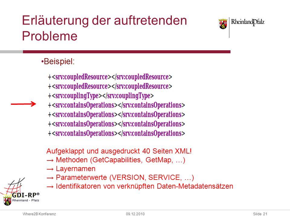 Slide 21 Where2B Konferenz09.12.2010 Erläuterung der auftretenden Probleme Beispiel: Aufgeklappt und ausgedruckt 40 Seiten XML.