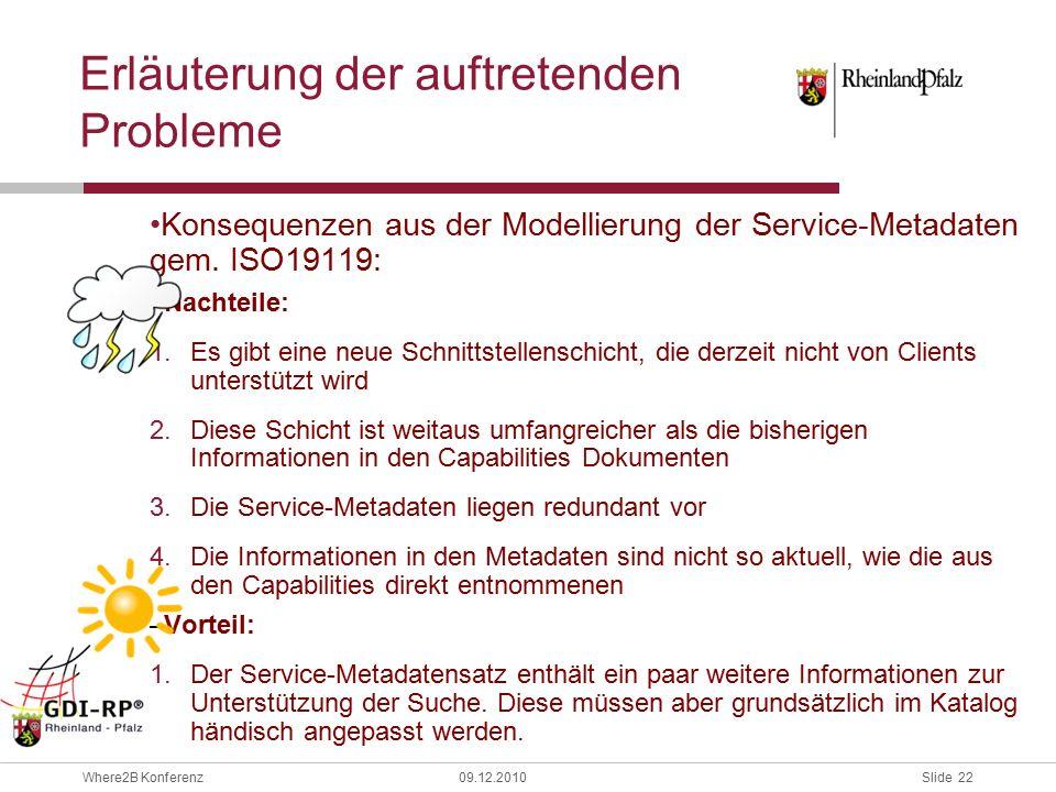Slide 22 Where2B Konferenz09.12.2010 Erläuterung der auftretenden Probleme Konsequenzen aus der Modellierung der Service-Metadaten gem.