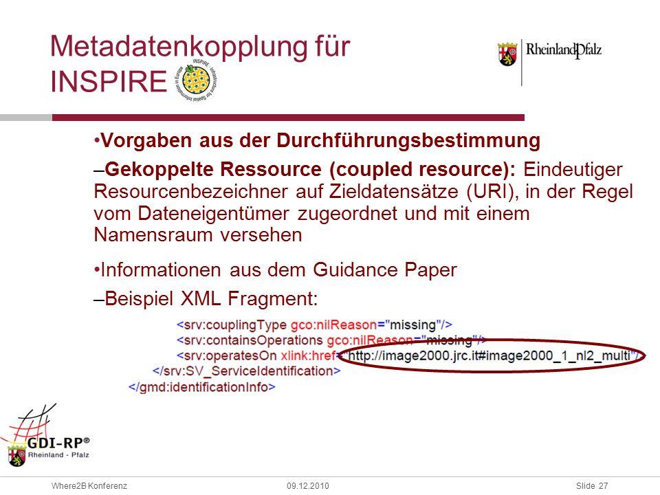 Slide 27 Where2B Konferenz09.12.2010 Metadatenkopplung für INSPIRE Vorgaben aus der Durchführungsbestimmung –Gekoppelte Ressource (coupled resource): Eindeutiger Resourcenbezeichner auf Zieldatensätze (URI), in der Regel vom Dateneigentümer zugeordnet und mit einem Namensraum versehen Informationen aus dem Guidance Paper –Beispiel XML Fragment: