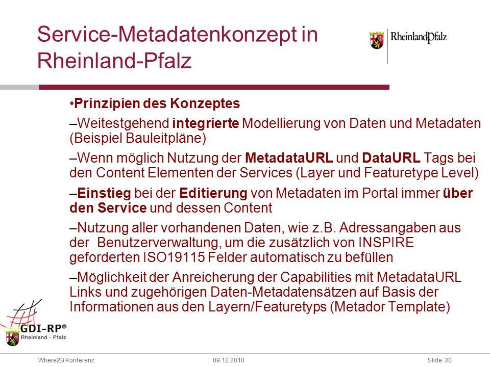 Slide 30 Where2B Konferenz09.12.2010 Service-Metadatenkonzept in Rheinland-Pfalz Prinzipien des Konzeptes –Weitestgehend integrierte Modellierung von Daten und Metadaten (Beispiel Bauleitpläne) –Wenn möglich Nutzung der MetadataURL und DataURL Tags bei den Content Elementen der Services (Layer und Featuretype Level) –Einstieg bei der Editierung von Metadaten im Portal immer über den Service und dessen Content –Nutzung aller vorhandenen Daten, wie z.B.