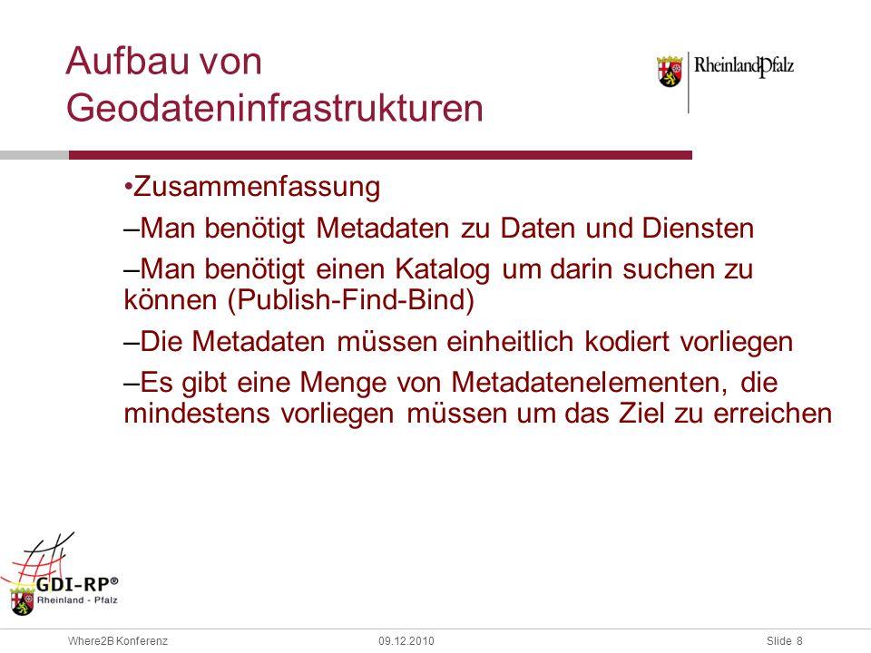 Slide 19 Where2B Konferenz09.12.2010 Erläuterung der auftretenden Probleme Es gibt zwei unterschiedliche Encodings von Service- Metadaten : –A: Encoding in Form von standardisierten Service-Metadaten, wie sie z.B.