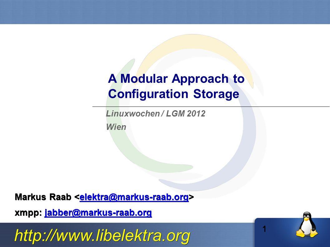 http://www.libelektra.org A Modular Approach to Configuration Storage Markus Raab Markus Raab elektra@markus-raab.org xmpp: jabber@markus-raab.org jabber@markus-raab.org Linuxwochen / LGM 2012 Wien 1