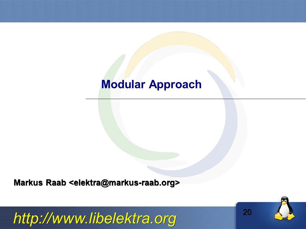 http://www.libelektra.org Modular Approach Markus Raab Markus Raab 20