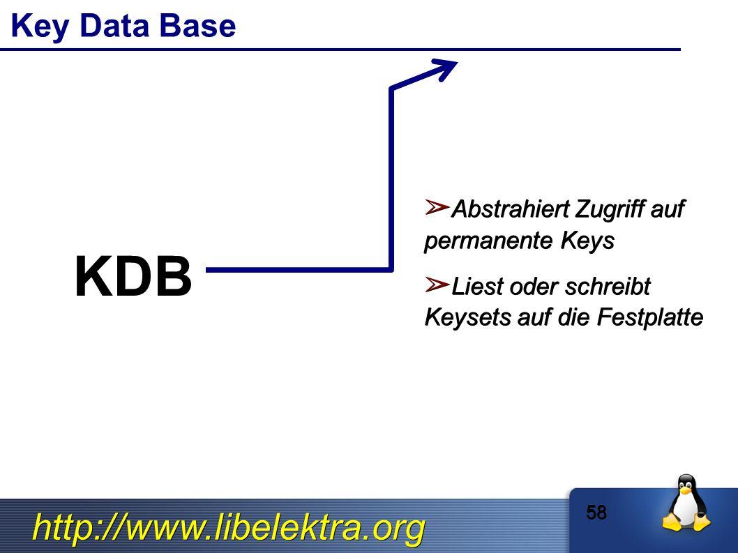 http://www.libelektra.org Key Data Base ➢ Abstrahiert Zugriff auf permanente Keys ➢ Liest oder schreibt Keysets auf die Festplatte 58