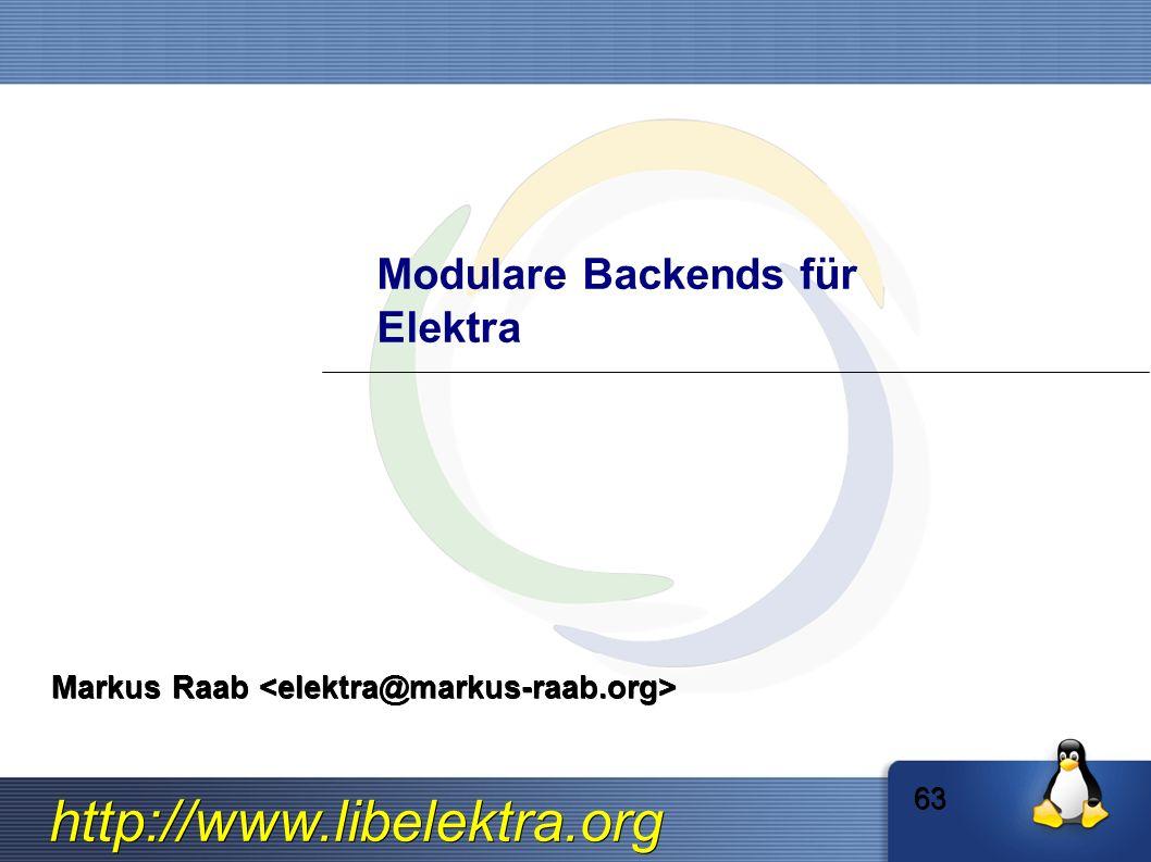 http://www.libelektra.org Modulare Backends für Elektra Markus Raab Markus Raab 63