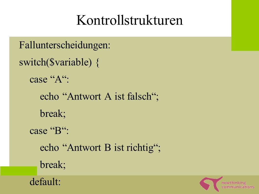 Schleifen Arten: while( ) { befehl(); } for($i=0; $i<10;$i++) { befehl(); } foreach($array as $key => $value) { echo $key => $value ; }