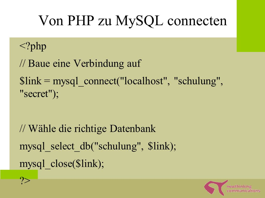 Abfragen von Informationen ● Select * from gaestebuch_ ● Allgemein – Select [ ].,...|*] from [, tabelle2] [where.feld1 = string [and|or feld2 = zahl]]