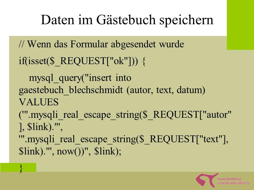 Insert Commands ● Allgemeine Insert Syntax: – Insert [into] [(feld1[, feld2,...])] VALUES ( string [, zahl,...]) ● mysqli_escape_string um Sonderzeichen zu eliminieren, die unseren Query