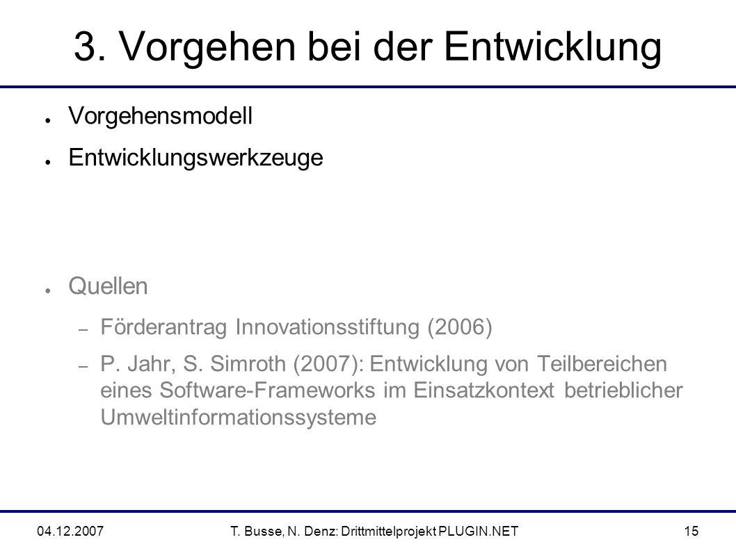 04.12.2007T. Busse, N. Denz: Drittmittelprojekt PLUGIN.NET15 3.