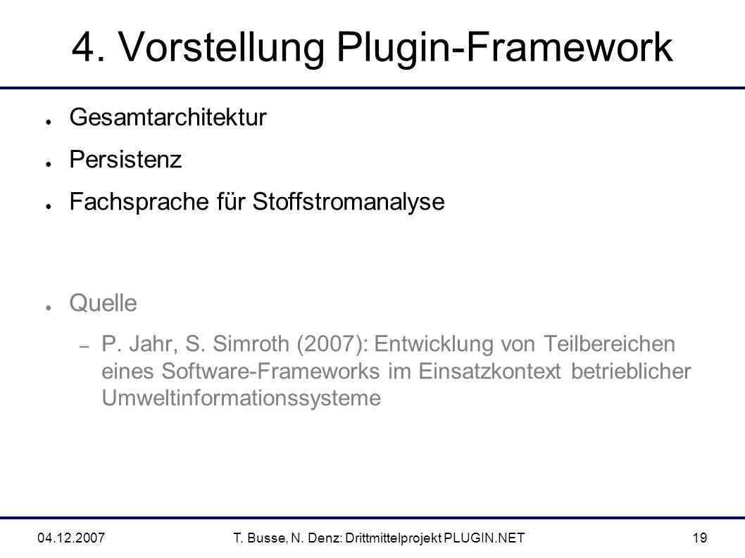 04.12.2007T. Busse, N. Denz: Drittmittelprojekt PLUGIN.NET19 4.