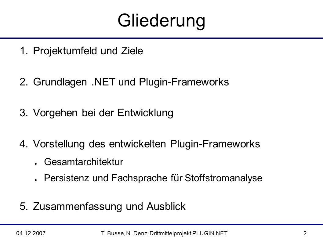 04.12.2007T. Busse, N. Denz: Drittmittelprojekt PLUGIN.NET2 Gliederung 1.